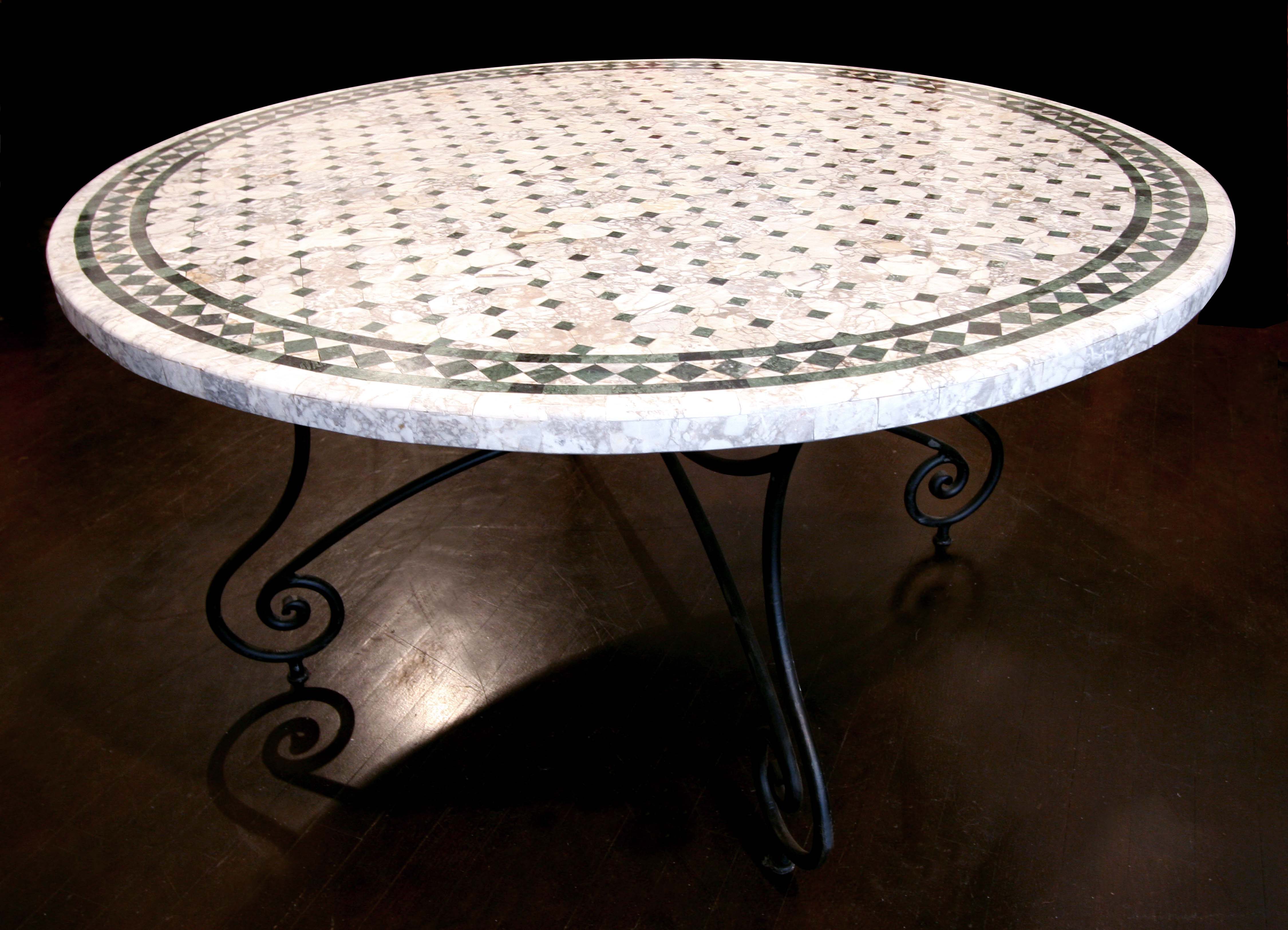 sell mosaic table, marbre table, wrought iron chair, inlaid wood chair, ethnic furniture, briar table