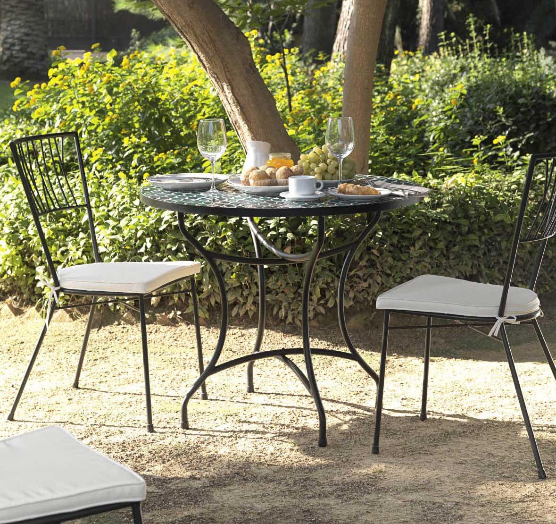 tavolo mosaico sedie ferro battuto
